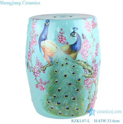 Light Green Peacock design Ceramic Drum stool