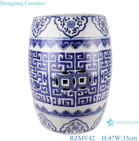 Chinese blue and white flower design ceramic stool for home