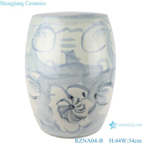 Jingdezheng Antique handmade light blue pattern ceramic stools RZNA04-B