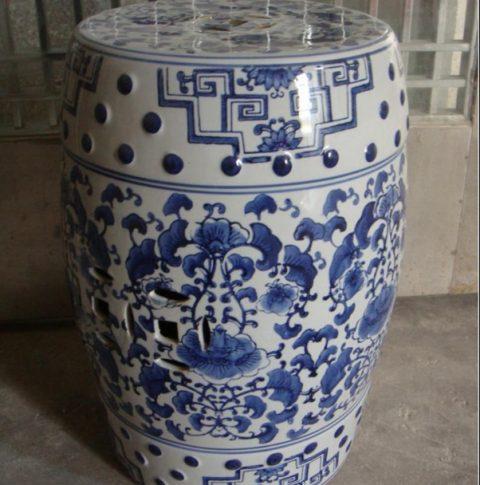 blue and white ceramic drum stool