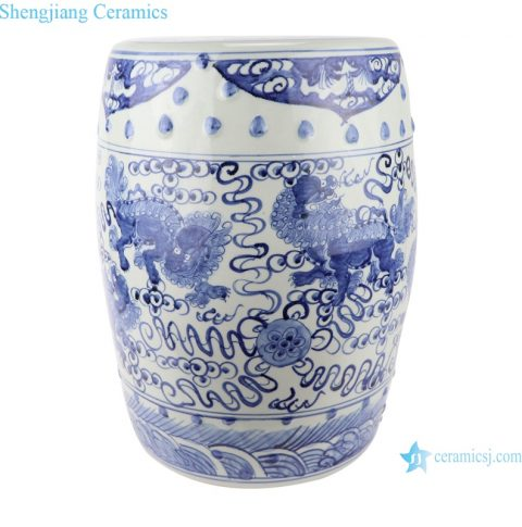 RZSC12 Antique blue and white Flower and Lion hand-painted figures ceramic Garden stool