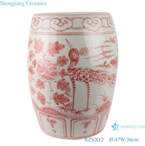 RZSX12  Red flower bird Pattern Archaize alum Ceramic drum stool cool pier