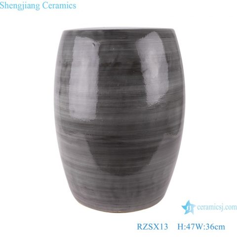 RZSX13 Color glaze black coil grain kiln drum Garden stool cool pier